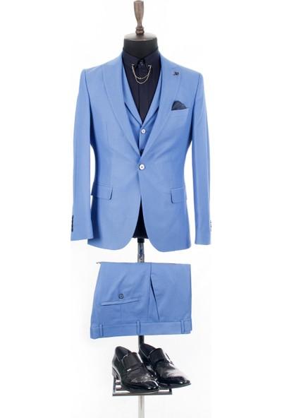 Deepsea Mavi Kendinden Desenli Çift Yırtmaçlı İtalyan Kesim 3'Lü Takım Elbise 1810702