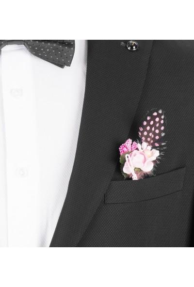 Deepsea Siyah Kendinden Nokta Desenli İtalyan Kesim 3'Lü Erkek Takım Elbise 1810728