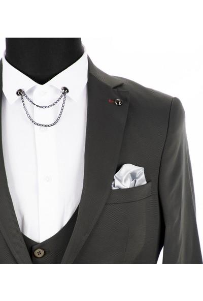 Deepsea Haki Kendinden Nokta Desenli İtalyan Kesim 3'Lü Erkek Takım Elbise 1810728
