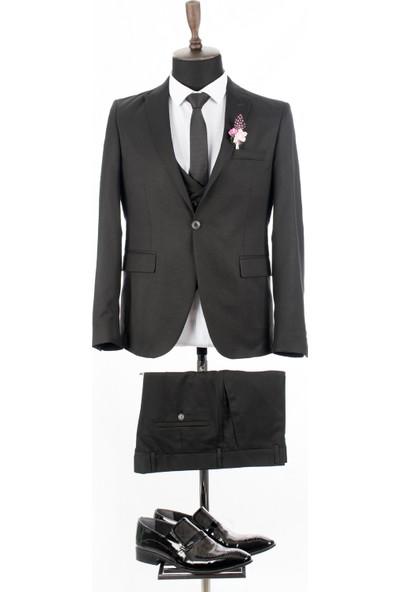 Deepsea Siyah Kendinden Desenli Slimfit 3'Lü Takım Elbise 1800815