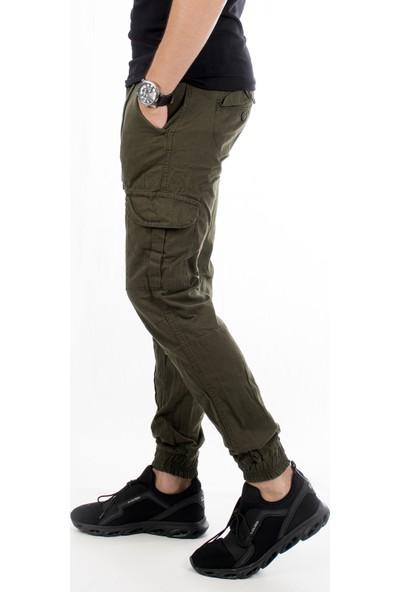 Deepsea Haki Paçası Ve Beli Lastikli Bağcıklı Erkek Kargo Pantolon 1601569