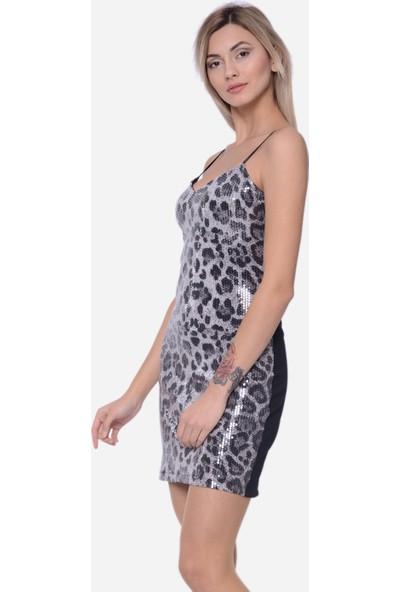 İroni Payetli Kadın Mini Elbise 5229-1282 Gri Leopar