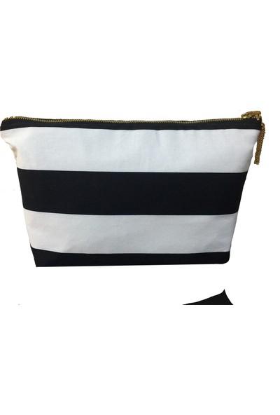 Mumu Siyah Beyaz Çizgili Portföy Çanta