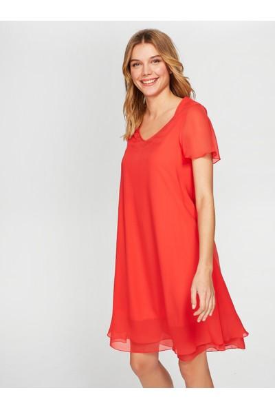 Faik Sönmez Kısa Kollu Şifon Elbise 38303