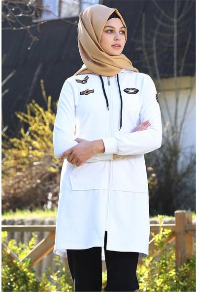 Tommy Life Havacı Armalı Beyaz Tesettür Kadın Tunik Takım