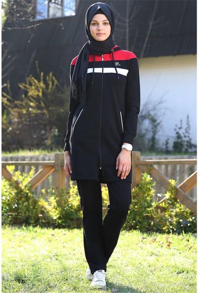 Tommy Life Ön Garnili Siyah Tesettür Tunik Takım