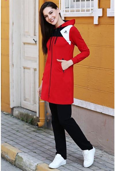 Tommy Life Kapüşonlu Fermuar Detaylı Kırmızı Tunik Takım
