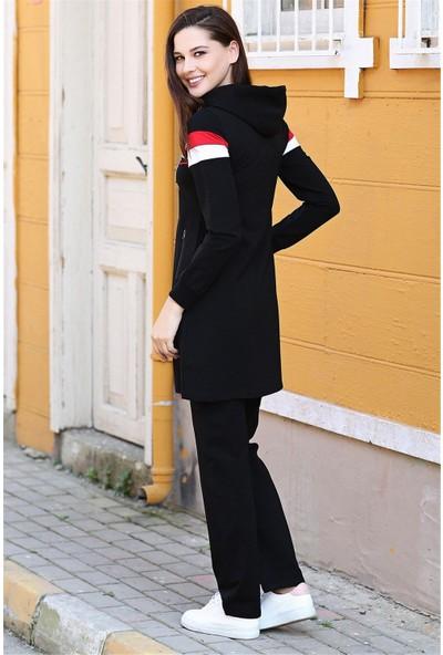 Tommy Life Kapüşonlu Ön Şerit Detaylı Siyah Kadın Tunik Takım