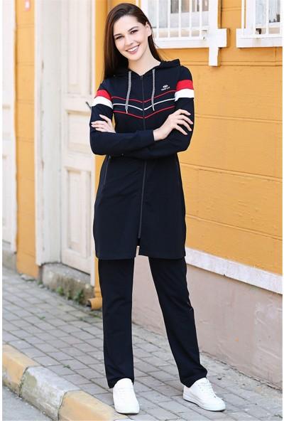 Tommy Life Kapüşonlu Ön Şerit Detaylı Lacivert Kadın Tunik Takım