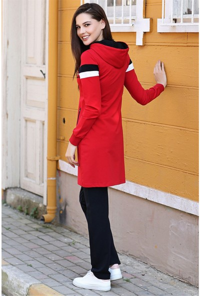 Tommy Life Kapüşonlu Ön Şerit Detaylı Kırmızı-Lacivert Kadın Tunik Takım