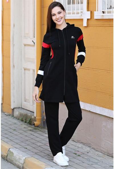 Tommy Life Kapüşonlu Omuz Kol Renk Detaylı Siyah Tunik Takım