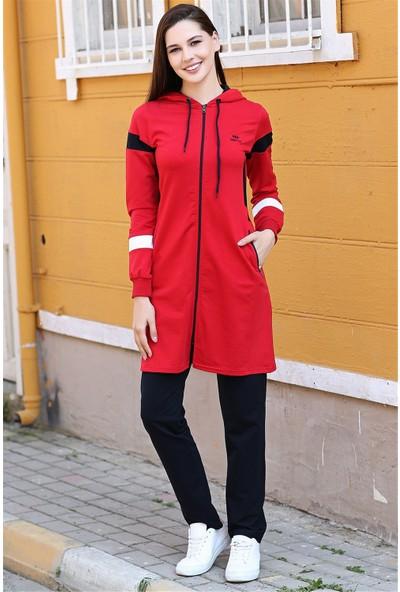 Tommy Life Kapüşonlu Omuz Kol Renk Detaylı Kırmızı Tunik Takım