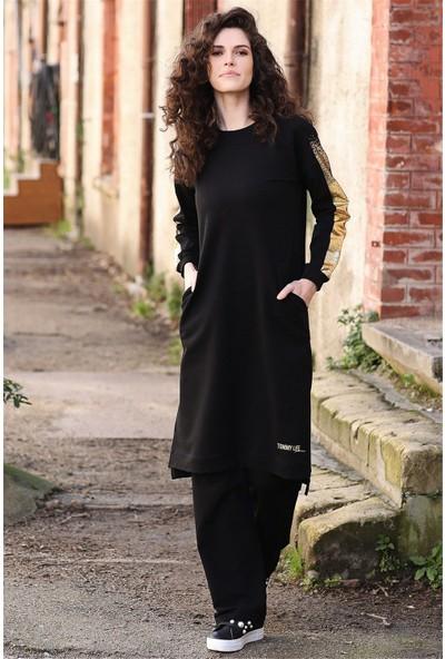 Tommy Life Kolları Simli Cep Detaylı Siyah Kadın Tunik Takım