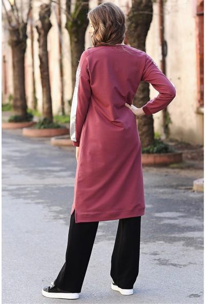 Tommy Life Kolları Simli Cep Detaylı Bordo Tunik Kadın Takım