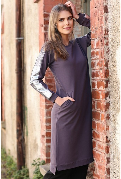Tommy Life Kolları Simli Cep Detaylı Mor Kadın Tunik Takım