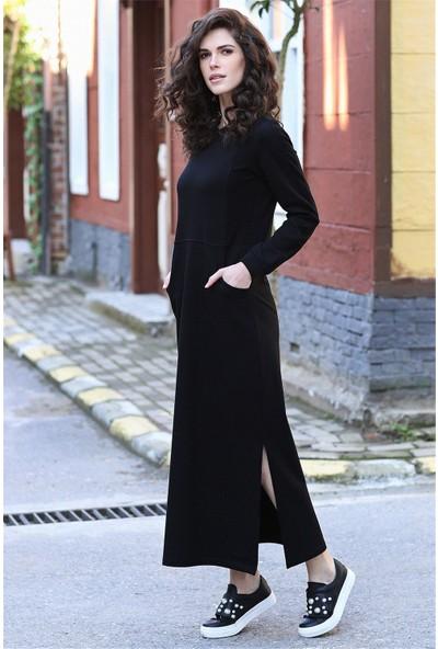 Tommy Life Yırtmaçlı Cep Detaylı Siyah Kadın Spor Elbise
