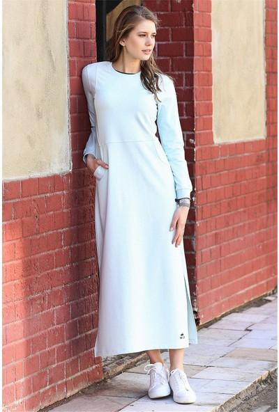 Tommy Life Yırtmaçlı Cep Detaylı Açık Mavi Kadın Spor Elbise