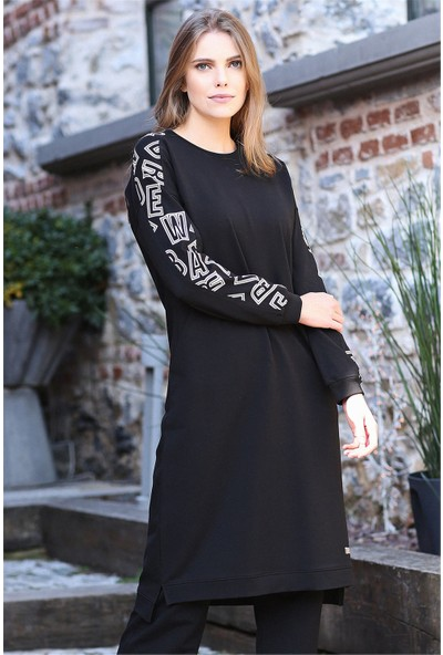 Tommy Life Cepli Kolları Desenli Siyah Kadın Tunik Takım