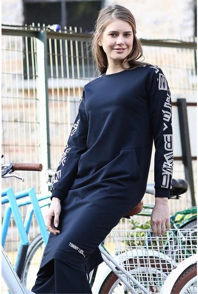 Tommy Life Cepli Kolları Desenli Lacivert Kadın Tunik Takım