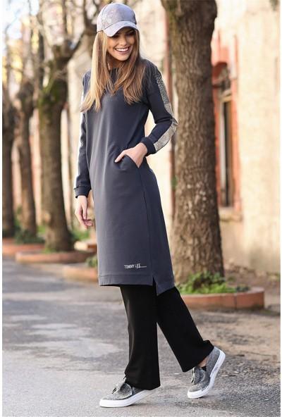 Tommy Life Kolları Simli Cep Detaylı Antrasit Kadın Tunik Takım