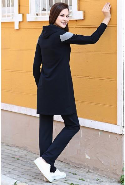 Tommy Life Fermuarlı Ön Garnili Lacivert-Gri Melanj Kadın Tunik Takım