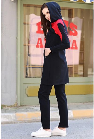 Tommy Life Ön Garnili Lacivert-Kırmızı Tunik Kadın Takım