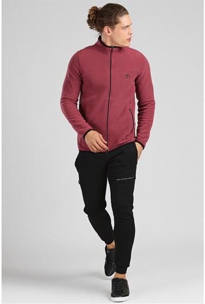 Tommy Life Yakalı Polar Bordo Erkek Sweatshirt
