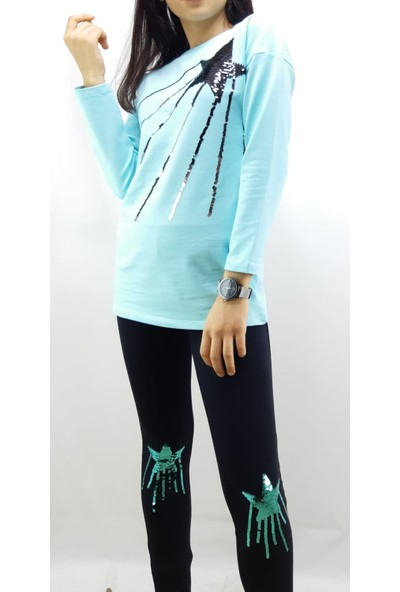 Toontoy Kız Çocuk Eşofman Takım Pullu Yıldız Nakış Turkuaz 14 Yaş - 164 cm