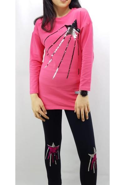 Toontoy Kız Çocuk Eşofman Takım Pullu Yıldız Nakış Fuşya 8 Yaş - 128 cm