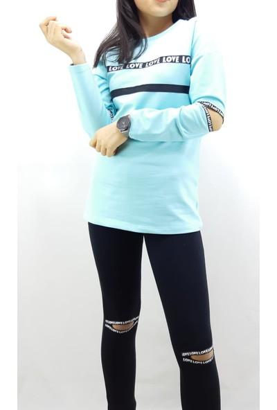 Toontoy Kız Çocuk Eşofman Takım Kol ve Göğsü Şerit Açık Mint Yeşili 10 Yaş - 140 cm