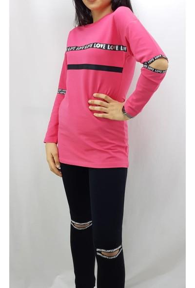 Toontoy Kız Çocuk Eşofman Takım Kol ve Göğsü Şerit Fuşya 14 Yaş - 164 cm