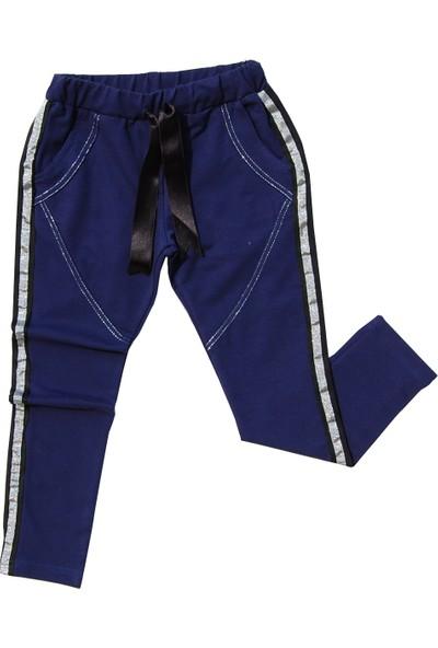 Toontoy Kız Çocuk Eşofman Alt Yanları Simli Şeritli Lacivert 14 Yaş - 164 cm