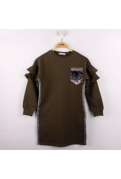 Toontoy Kız Çocuk Elbise Cep Pul Detaylı Haki 8 Yaş - 128 cm