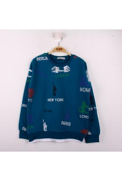 Toontoy Erkek Çocuk Sweatshirt Komple Baskılı Petrol Mavi 8 Yaş - 128 cm