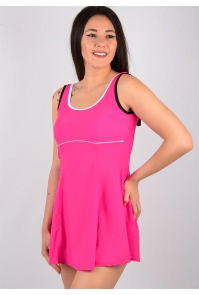 Pemilo Bayan Likralı Biyeli Elbise Mayo