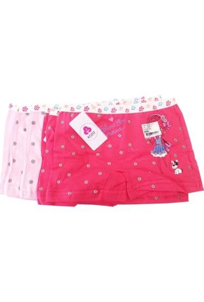 Koza Kız Çocuk Renkli Desenli Boxer 6 lı Paket