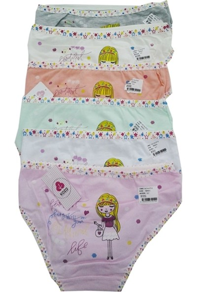 Koza Renkli Desenli Kız Çocuk Külot 6 lı Paket