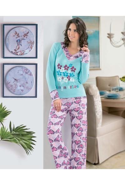 Derya Kurşun Çiçek ve Kalp Baskılı Kadın Pijama Takımı DK761