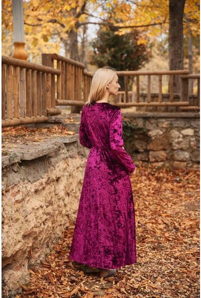 Abacı Bordo Kadife Elbise ELB11429-O67