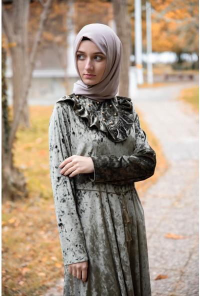 Abacı Haki Kadife Elbise ELB11429-O68