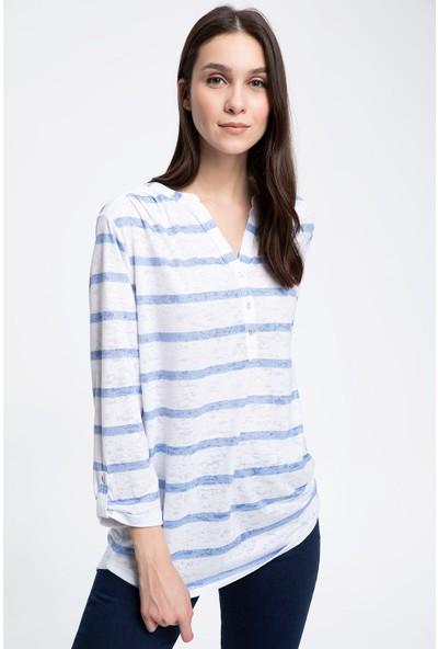 Defacto Düğmeli Katlanır Kollu Sweatshirt