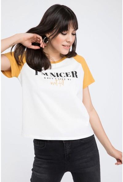 Defacto Renk Bloklu Slogan Baskılı Kısa Kollu T-shirt