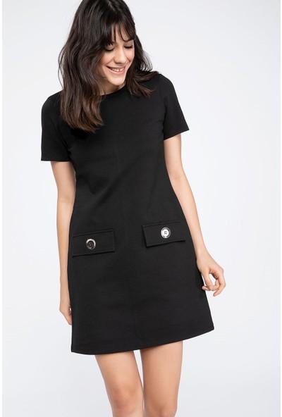 Defacto Düğmeli Kısa Kollu Elbise