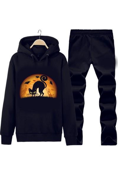 Art T-Shirt Cat Kapüşonlu Eşofman Takımı