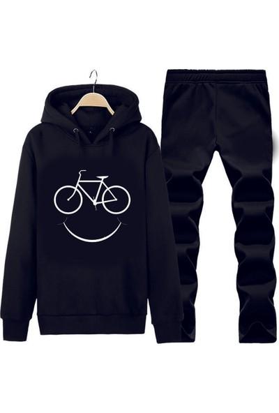 Art T-Shirt Bike Smile Kapüşonlu Eşofman Takımı