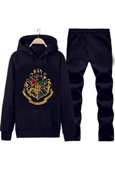 Art T-Shirt Harry Potter Hogwarts Logo Kapüşonlu Eşofman Takımı