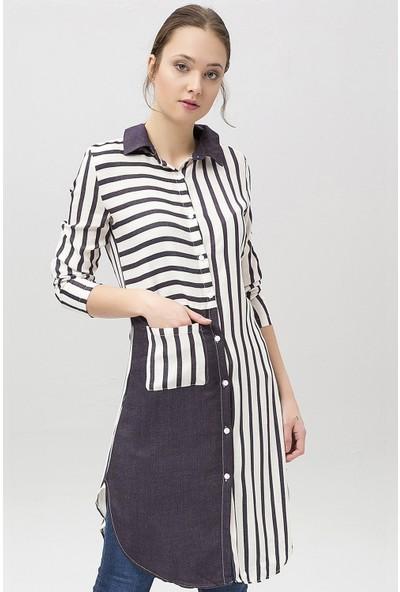 New Laviva Lacivert Çizgili Kadın Ekru Gömlek Elbise