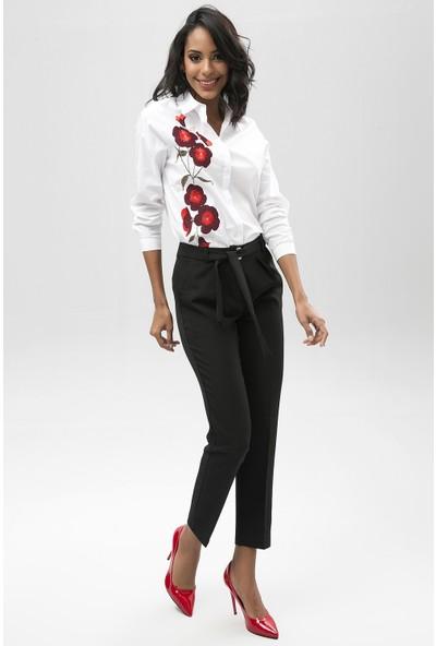New Laviva Siyah Kadın Kuşaklı Pantolon