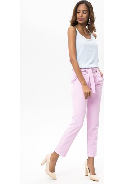 New Laviva Lila Kadın Kuşaklı Pantolon