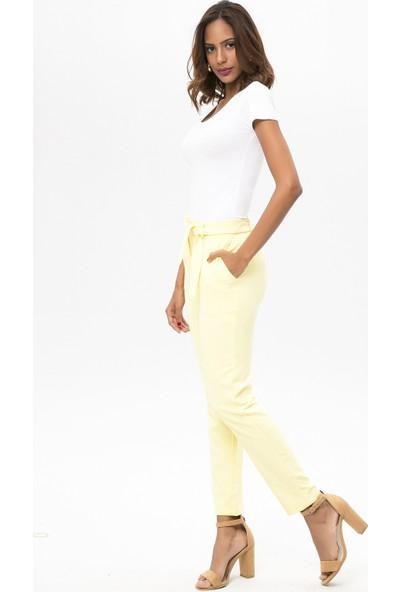 New Laviva Sarı Kadın Kuşaklı Pantolon